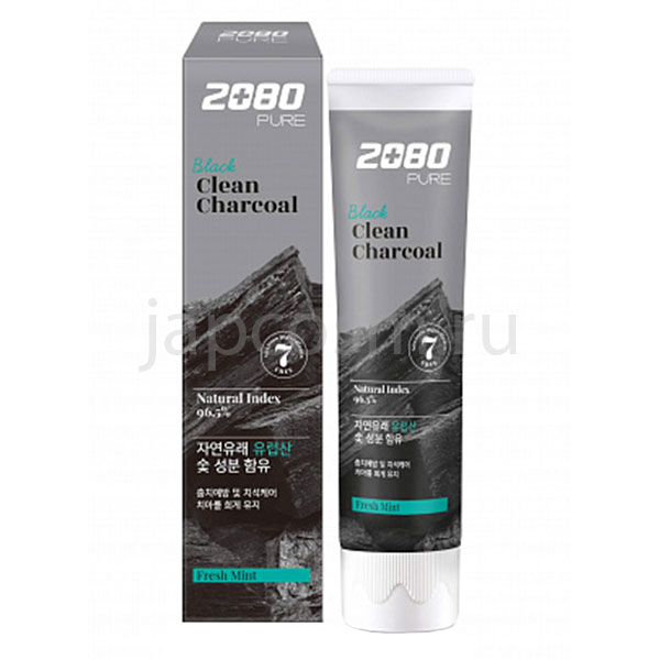 купить корейская зубная паста уголь и мята Dental Clinic 2080 Pure Black Clean Charcoal Fresh Mintt доставки заказов курьером и Почтой России