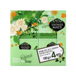 купить туалетное твердое мыло оливки и зеленый чай КераСис Шауэр Мэйт KeraSys Shower Mate Refresh Olive & Green Tea Soap самовывоз оптом