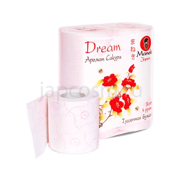 купить Туалетная бумага трехслойная с тиснением Сакура Maneki Dream, купить бумагу для туалета интернет магазин оптом и в розницу доставка