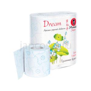 купить туалетная бумага трехслойная с голубым тиснением и ароматом утренней свежести Maneki Dream, купить бумагу для туалета оптом и розницу
