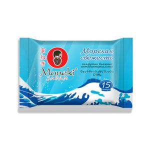 купить очищающие влажные салфетки с антибактериальным эффектом Морская свежесть Maneki Kaiteki, купить японскую бытовую химию в Москве