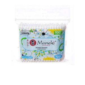 купить палочки ватные гигиенические с пластиковым стержнем в zip-пакете Maneki Lovely, купить ватную продукцию хозяйственный интернет магазин