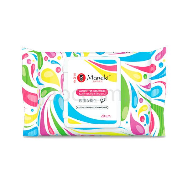 купить Влажные салфетки для интимной гигиены с календулой и бархатом амурским Maneki Kaiteki, купить бытовую химию из японии оптом и розницу