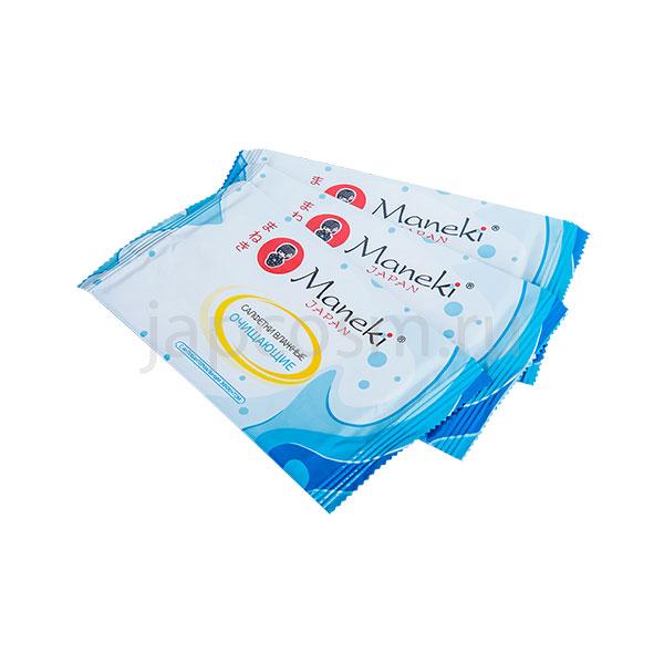 купить очищающие влажные салфетки с антибактериальным эффектом в индивидуальной упаковке Maneki Kaiteki, купить японская химия в розницу.