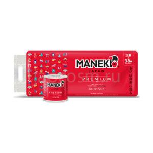 купить туалетная бумага трехслойная гладкая без аромата Maneki Red Premium, купить средства гигиены магазин хозтоваров оптом и в розницу