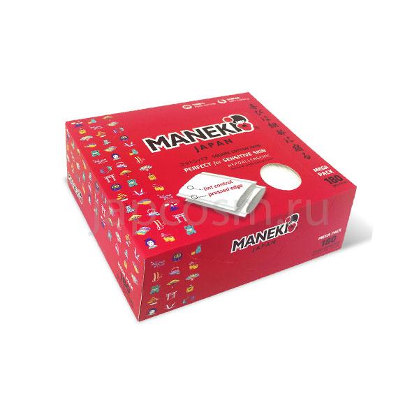 купить подушечки ватные косметические прямоугольные с пресс-линией в коробке Maneki Lovely, купить товары из Японииоптом и в розницу