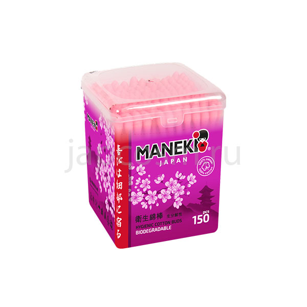 купить ватные гигиенические палочки с розовым бумажным стержнем в пластиковом стакане Maneki Lovely, химия Япония удобная доставка по Москве
