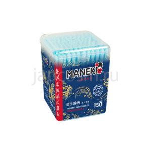 купить ватные гигиенические палочки с голубым бумажным стержнем в пластиковом стакане Maneki Lovely, химия Япония удобная доставка по Москве