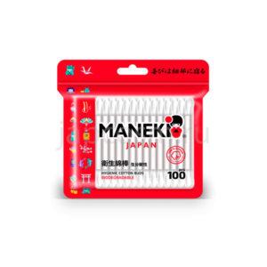купить ватные гигиенические палочки с белым бумажным стиком в zip-пакете Maneki Red, интернет магазин товаров из Японииоптом и в розницу