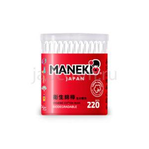купить палочки ватные гигиенические с белым пластиковым стержнем в стакане Maneki Lovely, купить бытовая химия Япония по приемлемым ценам