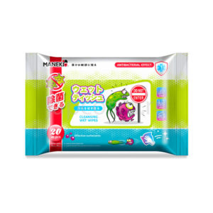 купить очищающие влажные салфетки с антибактериальным эффектом с экстрактом алоэ вера и ромашки Maneki, средства детской и личной гигиены